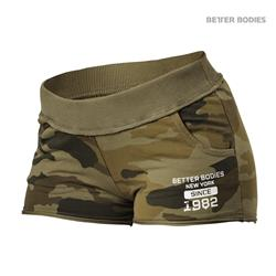 Rough sweatshorts, Dark green camo