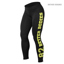 Varsity Tights, Black/lime