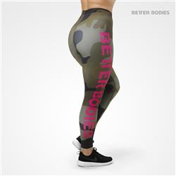 Varsity Stripe Tights, Dark green camo