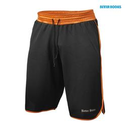 Mesh gym shorts, Black/orange
