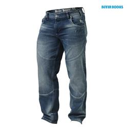 Straight Fit Denim, Washed blue