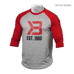 Mens Baseball Tee, Red/greymel